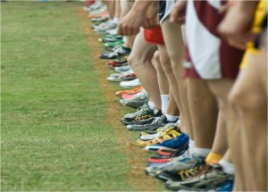 The elite runners get to stand at the starting line.
